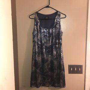 Adrainna Papell Evening Dress Silver Sequin Dress